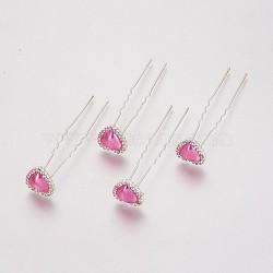 (vente de clôture défectueuse), fourches de cheveux de dame, avec des résultats de fer de couleur argent, strass et acrylique, cœur, cristal, hotpink, 71 mm(PHAR-XCP0001-L05)