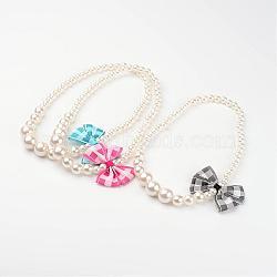 """Acrylique imitation de perles diplômé colliers de perles d'enfants, avec la main tissé bowknot, couleur mixte, 16.14""""(NJEW-JN01583)"""