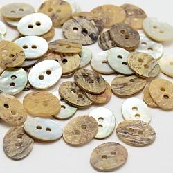 2 -hole mère ovale de boutons de nacre, bouton shell akoya, bouton shell akoya, chameau, 15x11x1mm, trou: 1 mm; environ 720 PCs / sachet (SHEL-N033-14-15x11)