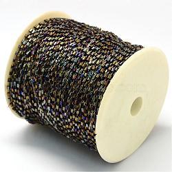 Cordons de perles plaquées de clairon, avec des câblés en polyester, avec des bobines de couleur aléatoire et des cordes en nylon, trou rond, darkgoldenrod, 1.5~3x1.5~2 mm; environ 100 mètres / rouleau(OCOR-R041-K04)