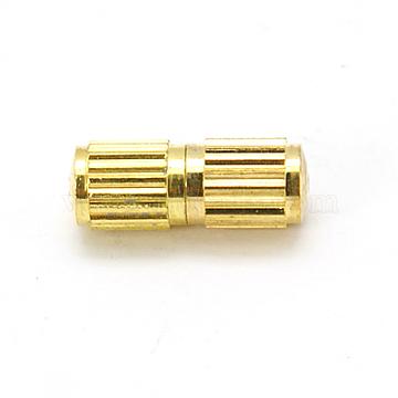 Brass Screw Clasps, Column, Golden, 10x4mm, Hole: 0.5mm(X-KK-E368-G)