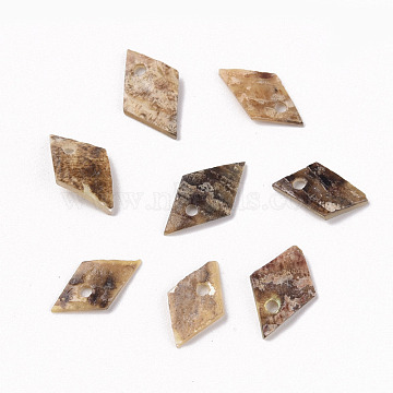 Natural Akoya Shell Charms, Mother of Pearl Shell Pendants, Rhombus, 13x7x1mm, Hole: 1~1.5mm(SSHEL-R144-03)