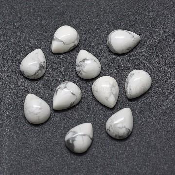 Natural Howlite Cabochons, teardrop, 8x6x3mm(X-G-O175-22-26)