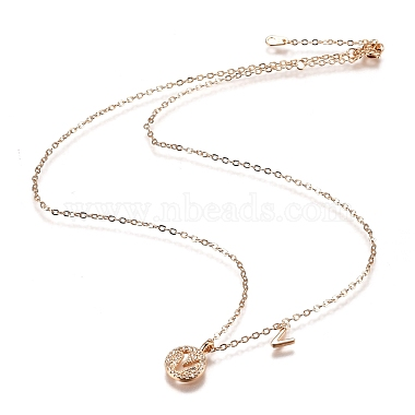 Brass Micro Pave Clear Cubic Zirconia Double Letter Pendant Necklaces(NJEW-Z010-22)-4