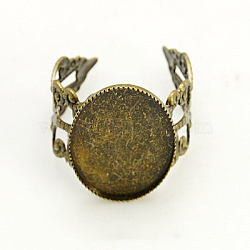 Brass Filigree Ring Settings, Pad Ring Bases, Adjustable, Nickel Free, Antique Bronze, Tray: 18x13mm; 18mm(KK-G118-AB-NF)