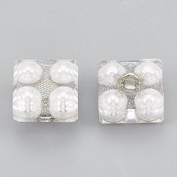 Boutons en acrylique, avec plastique ABS d'imitation nacre et accessoires en laiton, 1-trou, carrée, platine, clair, 17x17x11mm, Trou: 2.5mm(X-BUTT-S021-02)