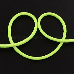 Round Elastic Cord, with Fibre Outside and Rubber Inside, GreenYellow, 3mm; about 90m/bundle(EC-R011-3mm-02)