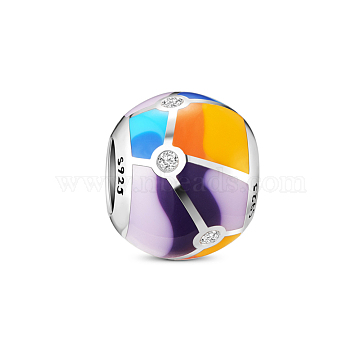 TINYSAND 925 Sterling Silver Colorful Enamel Charm European Bead, with Cubic Zirconia, Colorful, 10.08x9.22mm, Hole: 4.84mm(TS-C-220)