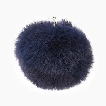 Handmade Faux Rabbit Fur Pom Pom Ball Covered Pendants, Fuzzy Bunny Hair Balls, with Elastic Fiber, PrussianBlue, 55~74mm, Hole: 5mm(X-WOVE-F020-A13)