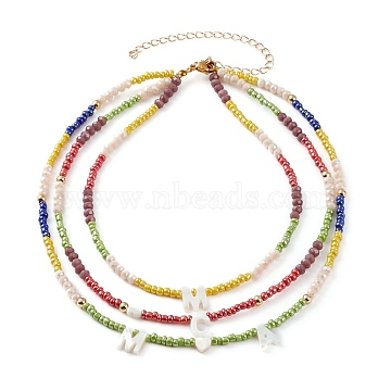 3 Layer Necklaces, Initial Necklace, with Glass Beads, Glass Seed Beads and Natural Shell Letter Beads, Golden, Colorful, 13.58 inches(34.5cm)(NJEW-JN03306)