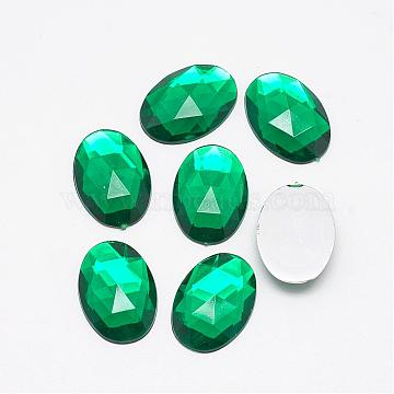 Acrylic Rhinestone Flat Back Cabochons, Faceted, Buttom Silver Plated, Oval, DarkGreen, 25x18x5.5mm(GACR-Q011-18x25-12)