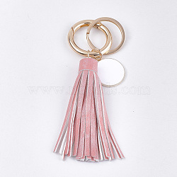 PU Leather Tassel Keychain, with Alloy Enamel Pendants, Iron Key Rings and Alloy Spring Gate Rings, Light Gold, Pink, 121~128mm(X-KEYC-T004-06A)