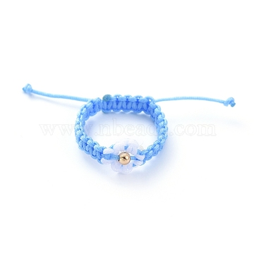 Adjustable Nylon Cord Braided Bead Rings, with Brass Round Beads, Deep Sky Blue, 20~28mm(RJEW-JR00303-06)