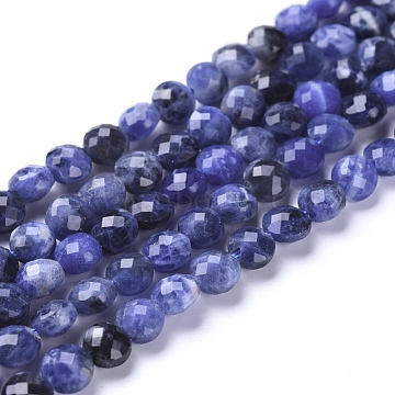 Natural Sodalite Beads Strands, Faceted, Flat Round, 6~7x4~4.5mm, Hole: 1mm; about 61~64pcs/strand, 14.96inches(38cm)(G-L538-012)