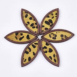 pendentifs en cuir de vachette environnementale, avec du bois teint, oeil de cheval avec imprimé léopard, or, 53x22x4 mm, trou: 1.2 mm(FIND-S301-34C-05)