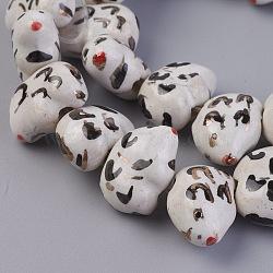 """Chapelets de perles en porcelaine manuelle, ornement d'or, ours, colorées, 10.5~11x15~15.5x7~7.5mm, trou: 2~2.5mm; environ 25 pcs/chapelet, 10"""" (25.7 cm)(PORC-L033-009)"""