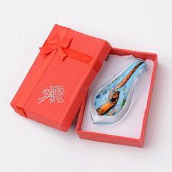 Box-emballés à la main dichroïque verre gros pendentifs, feuille lampwork pendentif avec couleur aléatoire boîte de collier en carton exquis, bleu ciel, 57~60x27~30mm, Trou: 7~10mm(DICH-X047-05)