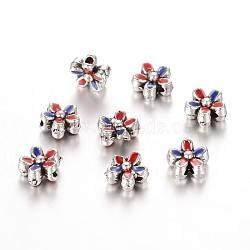 Plaqué argent antique perles fleurs d'émail en alliage, bleu, 6.5x3.5mm, Trou: 1mm(ENAM-E309-02AS)