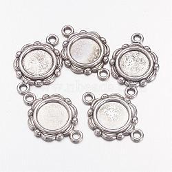 20 шт антикварные тибетском стиле параметров соединителя кабошон серебряного сплава, без свинца и без никеля , плоские круглые лоток: 10 мм, Размер : длиной около 23 мм , шириной 15 мм , толщиной 2 мм , отверстие : 2 мм(X-TIBEP-0578-S-FF)