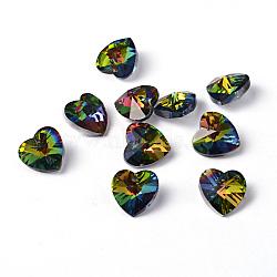 Coeur électrolytique pendentifs en verre à facettes, fond argenté, colorées, 14x14x8mm, Trou: 1.5mm(X-EGLA-R082-04)