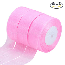 """Ruban d'organza, hotpink, 1-1/2"""" (38~40mm); Environ 50 heures / rouleau, 4 rouleaux / groupe(ORIB-T002-38mm-1005)"""