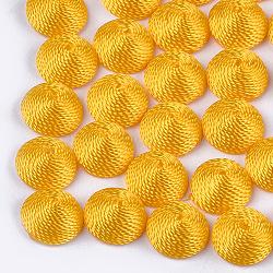 Cabochons en tissu de fil de polyester, recouvert de plastique abs, demi-rond / dôme, orange, 14.5x7mm(WOVE-T008-02B-07)