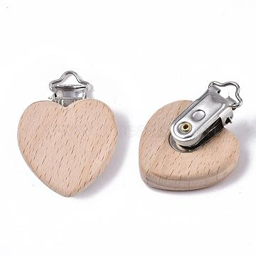 Beech Wood Baby Pacifier Holder Clips, with Iron Clips, Heart, Platinum, BurlyWood, 48x38x18.5mm, Hole: 3.5x6mm(X-WOOD-T015-01)