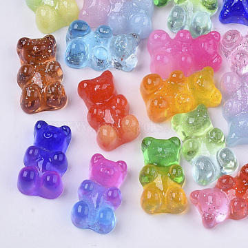 Resin Cabochons, with Glitter Powder, Two Tone, Bear, Mixed Color, 18x11x8mm(X-CRES-S303-53)