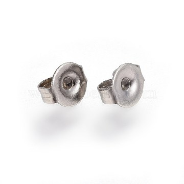 304 Stainless Steel Ear Nuts, Earring Backs, Stainless Steel Color, 5x4.5x2.6mm, Hole: 1mm(STAS-I100-01P)