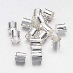 Perles à écraser en laiton , Tube, Sans cadmium & sans nickel & sans plomb, argenterie, 3x3mm, Trou: 2.5mm, 400 pcs / 10 g(X-KK-L017-S)