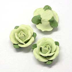 Фарфора ручной работы кабошонов, Китай глиняные шарики, цветок, светло-зеленые, 36~41x35~38x17~21 мм(PORC-S1003-32A)