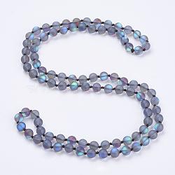 """Синтетические лунные камни из бисера многоцелевые ожерелья / браслеты, три-четыре петли браслеты, круглые, васильковые, 36.2"""" (92 см)(NJEW-K095-C10)"""