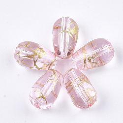 perles de verre drawbench, déposer, rose, 9x6 mm, trou: 1 mm(GLAD-T001-01A-07)