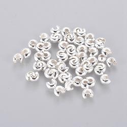 Couvertures de perles à sertir en fer, Sans cadmium & sans nickel & sans plomb, argenterie, 4 mm de diamètre; trou: 1.5~1.8 mm(X-IFIN-H029-NFS-NF)