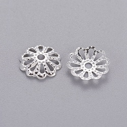 Silver Color Plated Filigree Flower Iron Bead Caps, 9mm, Hole: 1.5mm; about 134pcs/10g(X-IFIN-E191Y-S)