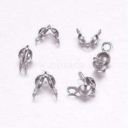 Caches noeuds en 304 acier inoxydable, calotte se termine, couverture de noeud à clapet, couleur inoxydable, 5x7mm, Trou: 1mm(STAS-F117-44P)