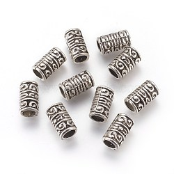 Alloy Beads, Cadmium Free & Nickel Free & Lead Free, Column, Antique Silver, 13.5x8mm, Hole: 5mm(PALLOY-E390-04AS-NR)