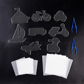 5x5mm DIY Fuse Beads Kit, with ABC Plastic Pegboards, Ironing Paper and Plastic Fuse Bead Tweezers, Clear(DIY-X0293-80)