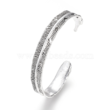Tibetan Style Alloy Cuff Bangles, Feather Shaped, Antique Silver, 2-3/8inches(60mm)(X-BJEW-Q678-10AS)