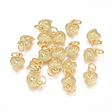 Electroplated Alloy Charms, Long-Lasting Plated, with Brass Jump Ring, Heart, Golden, 9.5x7.5x3mm, Hole: 3.5mm(X-PALLOY-G267-19G)