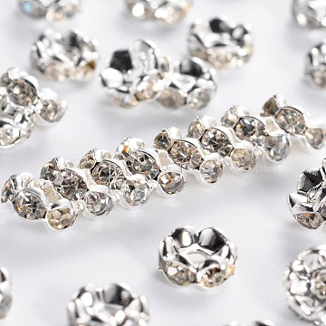 Brass Rhinestone Spacer Beads, Grade A, Wavy Edge, Silver Color Plated, Rondelle, Crystal, 6x3mm, Hole: 1mm(RB-A014-L6mm-01S)