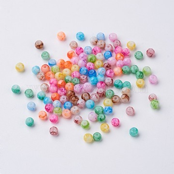 Mixed Spray Painted Glass Round Beads, 4mm, Hole: 1.1mm (X-GLAA-R139-4mm-M)