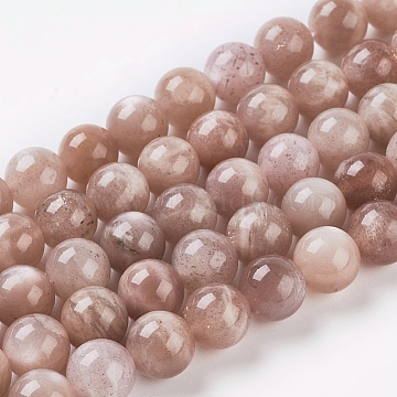 Natural Sunstone Beads Strands, Round, Sandy Brown, 4mm, Hole: 0.5mm, about 46pcs/strand, 7.8 inches(X-G-G099-4mm-14)