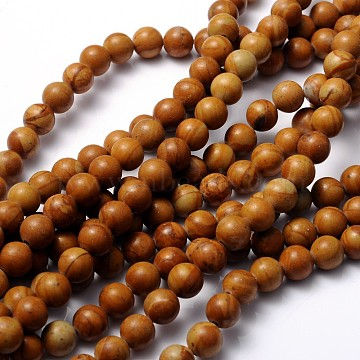 Gemstone Beads Strands, Wood Lace Stone, Round, about 8mm in diameter, hole: about 1mm, 15~16 inches(X-GSR050)