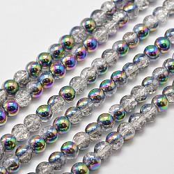 Гальванизированный синтетический треск кварцевые нити, вокруг, половина многоцветной покрыло, 6 mm, отверстия: 1 mm; о 66 шт / прядь, 15.7(X-EGLA-J067-6mm-HP02)