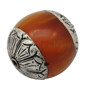 Beeswax Beads, with Sterling Silver Bead Caps, Drum, Antique Silver Metal Color, Chocolate, 26x24mm, Hole: 2mm(X-G-H1137-3)