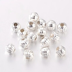 Iron Corrugated Beads, Silver Color Plated, Round, 5mm in diameter, hole: 2mm