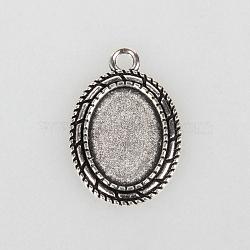 Supports de cabochon en alliage de style tibétain, ovale, argent antique, plateau: 13x18 mm; 29x20x2 mm, Trou: 3mm(X-TIBEP-N003-30AS)