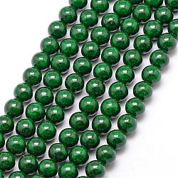 "Perles fossiles, teint, rond, darkgreen, 6mm, trou: 0.8mm; environ 66 pcs/chapelet, 16""(G-SR6MM-FS12)"