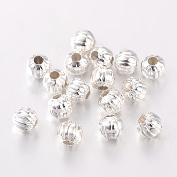 Iron Corrugated Beads, Silver Color Plated, Round, 5mm in diameter, hole: 2mm(X-E186Y-S)